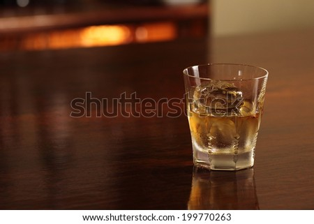 whiskey on the wooden table