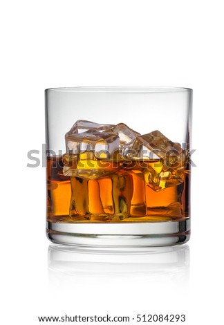 whiskey with ice in a glass on a white background