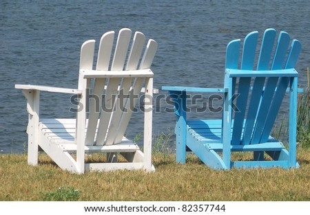White and Blue Adirondack Chairs
