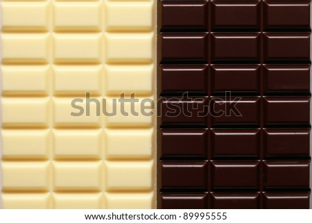 White and dark brown chocolate in a row
