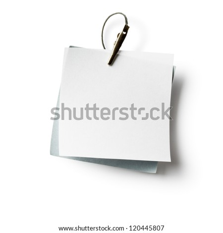 White and gray notepads with crocodile clip on white, clipping path included