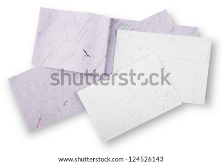 White and purple cards and envelope with shadow (clipping path)