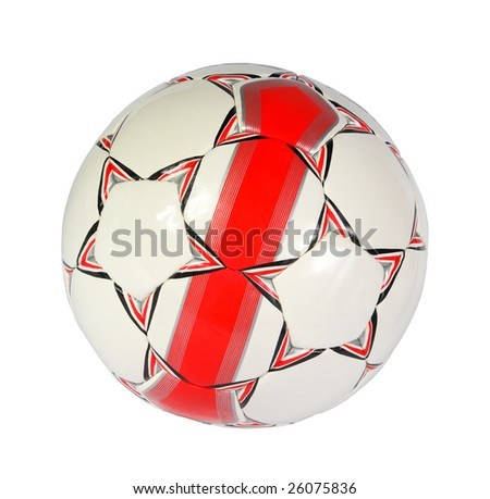 white and red soccer ball on a white background