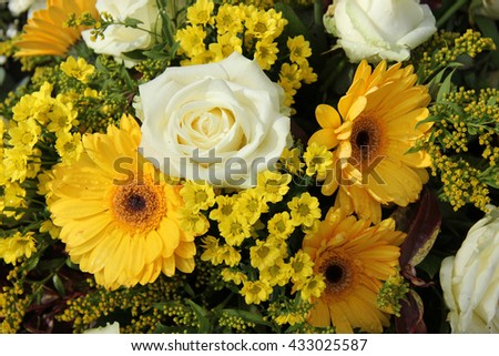 White and yellow bouquet, geberas and roses
