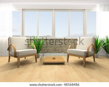 White armchair in a rest room 3d image
