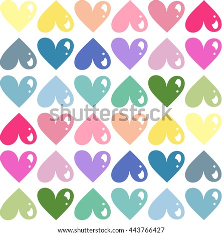 White background with multicolored hearts