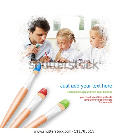 White background with three paintbrushes painting portrait of little students at school with their teacher