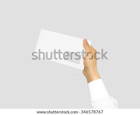 White Blank Envelope Mock Holding Hand Stock Photo 347122115 ...