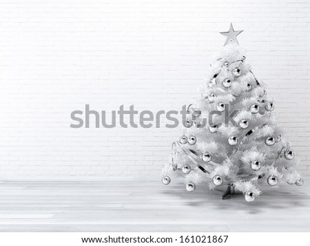 White blueish Christmast tree background