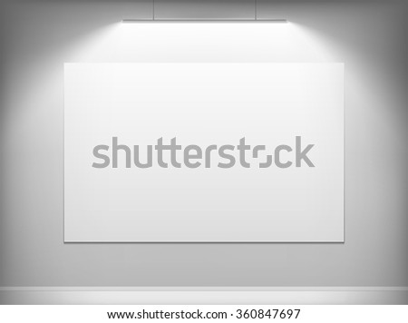 White canvas hanging on the wall. Stock illustration.