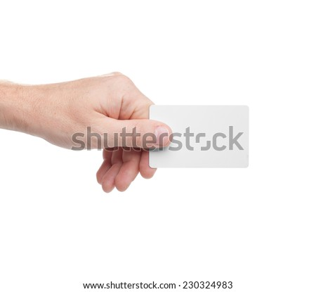 white card in a human hand isolated on white background