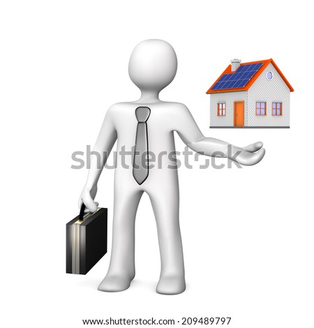 White cartoon character with a small house. White background.