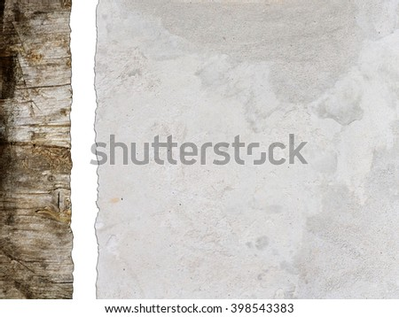 White Cement wall background with wooden texture