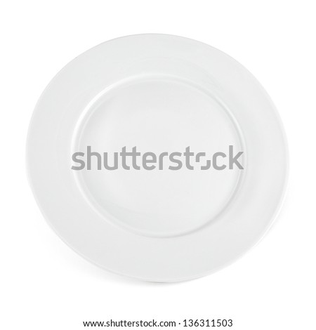 White ceramic glossy plate, top view,  isolated over white background