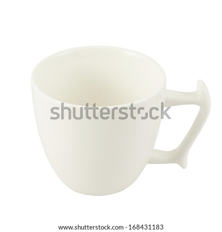 White ceramic tea cup isolated over white background