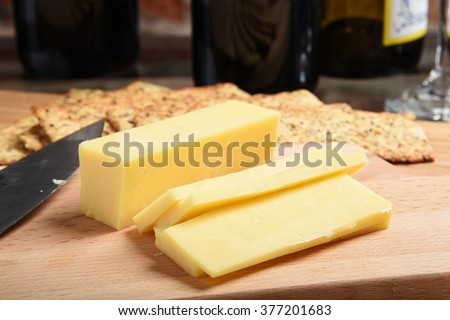 White cheddar cheese with stone ground whole wheat crackers