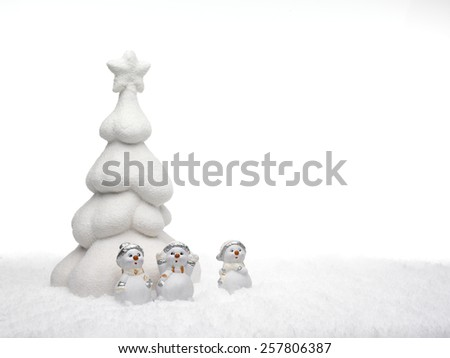 white christmas tree and little snowmen