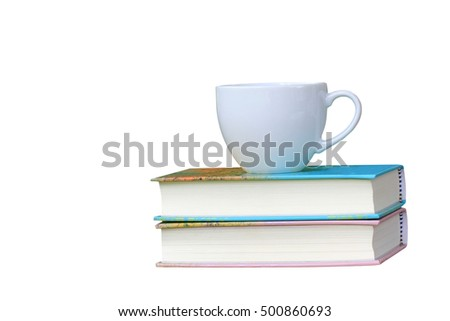 White coffee cup and book isolated on white background.