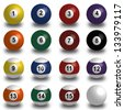 white Collection of pool balls, snooker ball on white background with shadow - stock vector