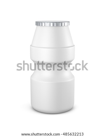 White color blank Packaging plastic bottle beverage yogurt, on white background isolated. Packshot design for front view of 3d Rendering (Clipping Path layers and passes)