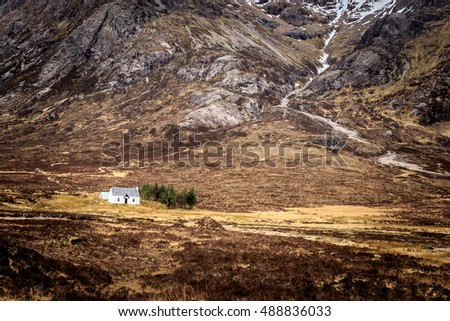 White cottage in the scottish islands Scotland.