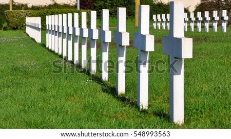 white crosses on cemetery in France