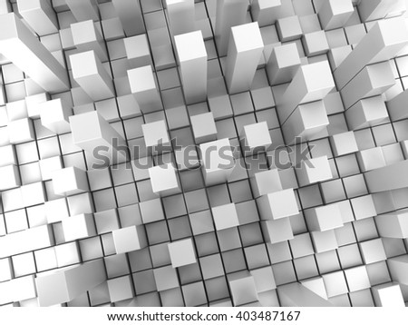 White cubes extruded background, abstract style 3D illustration.