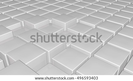 White 3d glossy plastic cubes smoothly illuminated - abstract technology background. 3D rendering.