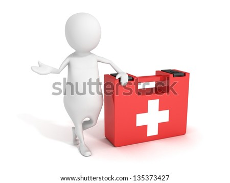 white 3d man with first aid help medical kit