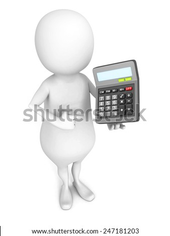 white 3d man with office calculator. finance concept 3d render illustration