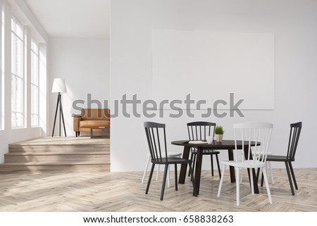 White Dining Room Interior With A Round Table And Black Chairs Horizontal