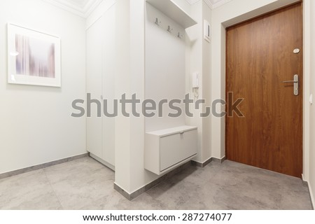 White empty anteroom with wooden front door