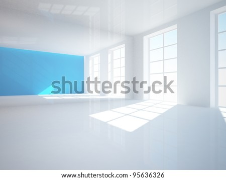white empty interior with a blue wall