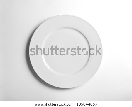 white empty  plate on background white