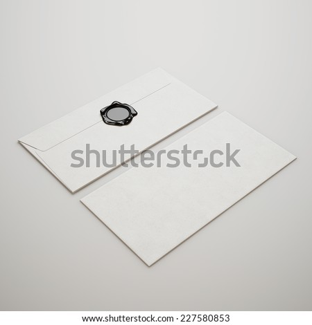White envelopes with wax seal