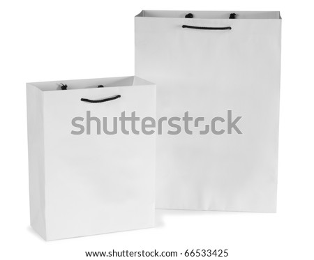 White gift bag. Isolated