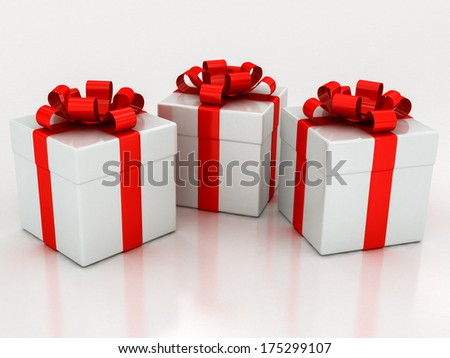 white gift boxes with red ribbon on a white background