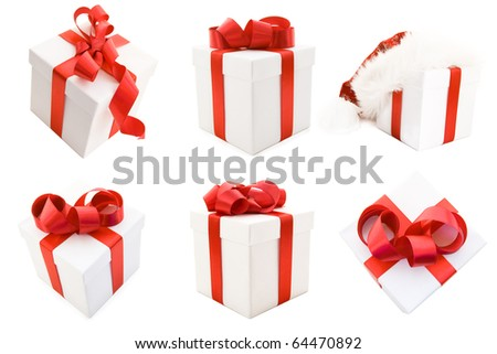 White Gift Boxs with Red Satin Ribbon Bow