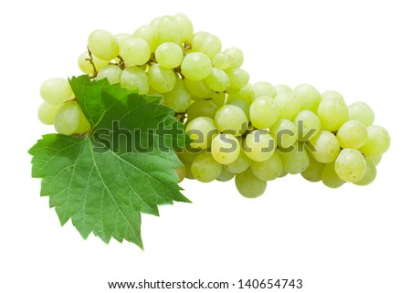 White grapes with leaves isolated on white background