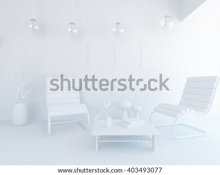 White nursery room white interior3d illustration stock illustration 383074462 shutterstock - Lavish white and grey kitchen for hygienic and bright view ...