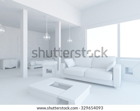 White interior. 3d rendering