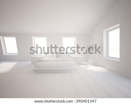 white interior design of bedroom with furniture - 3d illustration