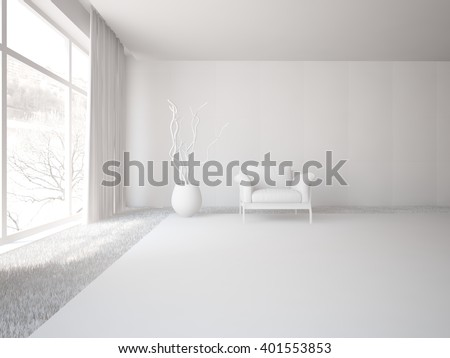 White interior of living room with grey furniture - 3d illustration