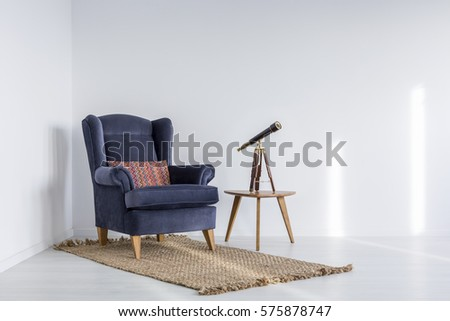Bright apartment blue sofa bench rug stock photo 575121973 for Small blue armchair