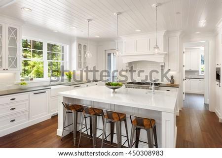 White Kitchen Interior Island Sink Cabinets Stock Photo 449760910  Shutterstock