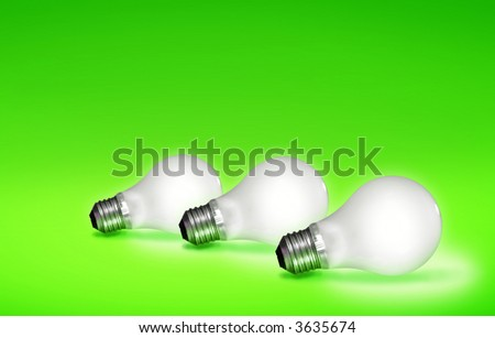 White light bulbs lit over a colorful Green background