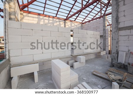 white Lightweight Concrete block, raw material for industrial wall