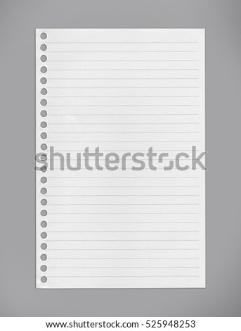 White lined notebook paper on gray background/clipping paths