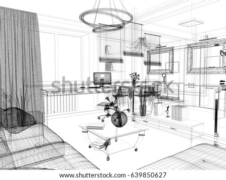 Stock Illustration Living Room Graphic Black White together with Mobilya together with Herman Miller Furniture furthermore Stock Photo Furniture In A Modern Interior D Image as well  on dining table and sofa in same room
