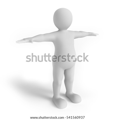 White man on the white background. 3d render. T-pose